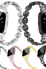 tanie -opaska na zegarek dla fitbit versa fitbit biżuteria projekt pasek ze stali nierdzewnej nadgarstek z metalową regulacją stopu