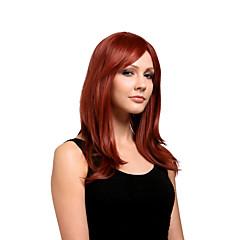 お買い得  人工毛ウィッグ-人工毛ウィッグ サイドパート バング付き 女性用 レッド カーニバルウィッグ ハロウィンウィッグ ミディアム