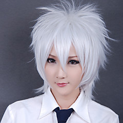 billige -Cosplay Parykker Gintama Gintoki Sakata Hvid Kort Anime Cosplay Parykker 30 CM Varmeresistent Fiber Mand