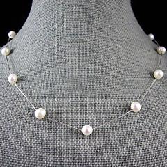 preiswerte Halsketten-Schwarz Rosa Weiß Perle Halskette / Perlenkette - Perle, Sterling Silber Weiß, Schwarz, Rosa Modische Halsketten Schmuck Für Hochzeit, Party, Jahrestag / Verlobung / Geschenk / Alltag