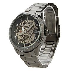 tanie Zegarki męskie-SHENHUA Męskie zegarek mechaniczny Zegarek na nadgarstek Nakręcanie automatyczne Grawerowane Stal nierdzewna Pasmo Czarny Black