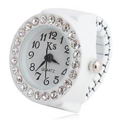 preiswerte Damenuhren-Damen Ringuhr / Armbanduhr Japanisch Imitation Diamant Plastic Band Glanz / Modisch Schwarz / Weiß / Rosa / Ein Jahr / SSUO SR626SW