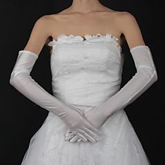 abordables Bijoux pour Femme-Coton / Satin Longueur Poignet / Longueur Opéra Gant Charme / Elégant / Gants de Mariée Avec Broderie / Couleur Unie