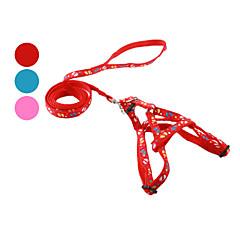 お買い得  犬用首輪/リード/ハーネス-犬 ハーネス リード スリップリード フットプリント 繊維 レッド ブルー ピンク