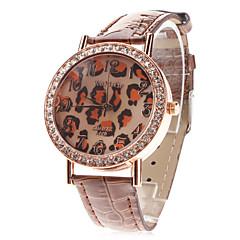 voordelige Luipaardhorloges-Dames Modieus horloge Kwarts Leer Band Glitter Luipaard  Zwart Wit Blauw Rood Bruin Paars roze Paars Roos Bruin Rood Blauw