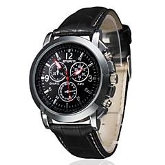 お買い得  メンズ腕時計-男性用 クォーツ リストウォッチ カジュアルウォッチ PU バンド チャーム ブラック ブラウン