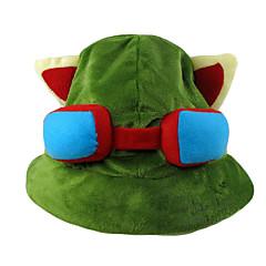 Şapka/Başlık Esinlenen LOL Teemo Anime / Video Oyunları Cosplay Aksesuarları Kapak / Şapka Yeşil Polar Kumaş Erkek