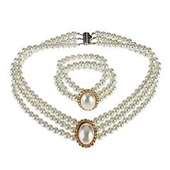 Dames Sieraden Set Modieus Kostuum juwelen Parel Strass Stof Legering Kettingen Armband Voor Bruiloft Feest Speciale gelegenheden