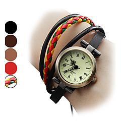 お買い得  レディース腕時計-女性用 レディース ブレスレットウォッチ 日本産 クォーツ 本革 バンド ハンズ ボヘミアンスタイル ファッション ブラック / ブラウン - レッド ライトブラウン 虹色