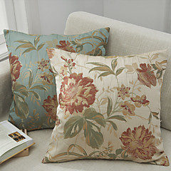 1Set Of 2Pcs Traditional Floral Polyester Square Pillow Cover