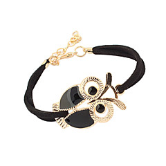 Women's Charm Bracelet Vintage Bracelet Basic Cute Style Costume Jewelry Vintage Adjustable Leather Acrylic Feather Alloy Owl Jewelry For
