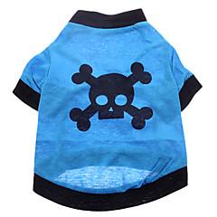 お買い得  犬用ウェア&アクセサリー-犬 コスチューム Tシャツ セット 犬用ウェア スカル ブルー コットン コスチューム ペット用 コスプレ ハロウィーン