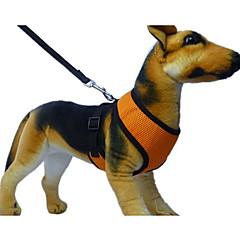 お買い得  犬用首輪/リード/ハーネス-犬 ハーネス リード 高通気性 ソフト 繊維 レッド グリーン ブルー ピンク 濃い紫色