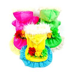 お買い得  猫の服-犬 ドレス 犬用ウェア 花/植物 イエロー ローズ グリーン ダウン コスチューム ペット用 コスプレ