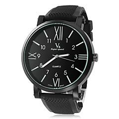 お買い得  メンズ腕時計-V6 男性用 クォーツ リストウォッチ カジュアルウォッチ シリコーン バンド チャーム ブラック