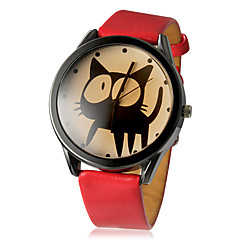 Dames Modieus horloge Kwarts PU Band Cartoon Zwart Wit Rood