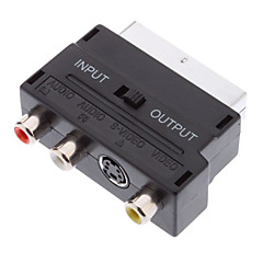 YongWei Scart 21-Pin Male to S-Video + 3 RCA Female Adapter Black