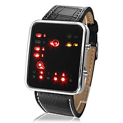 Χαμηλού Κόστους Δέρμα-Unisex LED Binary System Display crnim PU kožnim ručni sat