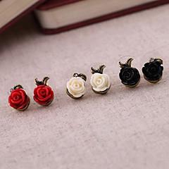 preiswerte Ohrringe-Damen Ohrstecker - Harz Rosen, Blume Weiß / Schwarz / Rot Für Party / Alltag