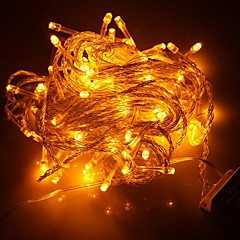 100-Led 10M Juleferie Dekoration Gul Lys Led Streng Lys