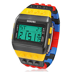 Men's Watch Sports Block Bricks Style LCD Digital Colorful Plastic Band Wrist Watch Cool Watch Unique Watch Fashion Watch