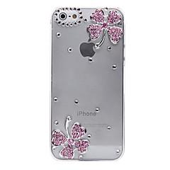 Для Кейс для iPhone 5 Прозрачный / Рельефный Кейс для Задняя крышка Кейс для Цветы Твердый PC iPhone SE/5s/5