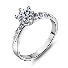 preiswerte Ringe-Bandring - Kupfer, Platiert, 18K Gold 5 / 6 / 7 Silber Für Hochzeit / Party / Alltag / Strass / Aleación