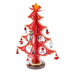Madera Roja 3D del árbol de navidad de Papá Noel Campana Permanente Desk Top Decoraciones Paquete