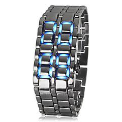 Herre Armbåndsur Digital LED Kalender Rustfrit stål Bånd Sej Sort Sort