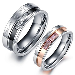 Damskie Pierścionki dla par Kryształ Miłość Serce Kryształ Stal nierdzewna Imitacja diamentu Biżuteria Biżuteria Na Ślub Impreza Codzienny