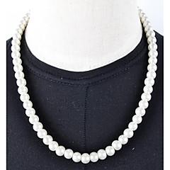 Mujer Strands Collares Perla Perla Artificial Plata-Negro Marfil Joyas Boda Diario Casual 1 pieza