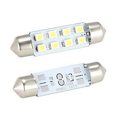 preiswerte LED Autobirnen-Merdia-Girlande 41mm 8 x 1210 SMD LED White Light Car Steering Birne / Leselampe - (2 PCS)