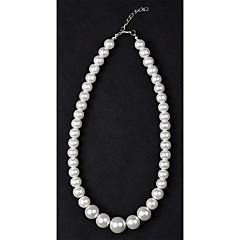 お買い得  ネックレス-女性用 真珠 人造真珠 パールネックレス ストランドネックレス  -  シルバーとブラック クリスタル ネックレス 用途 結婚式 日常 カジュアル