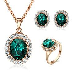 abordables Juegos de Joyería-Mujer Cristal Conjunto de joyas - Cristal, Chapado en Oro Moda Incluir Rojo / Verde Para Boda Fiesta Diario / Casual / Pendientes / Collare
