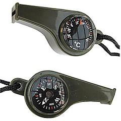 abordables Brújulas-3-en-1 Survival Silbato con brújula y termómetro-Green