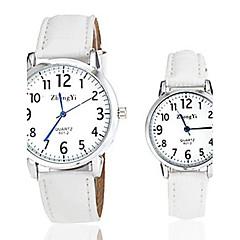 preiswerte Armbanduhren für Paare-Herrn / Damen / Paar Armbanduhr Armbanduhren für den Alltag Leder Band Charme / Modisch Schwarz / Weiß / Braun