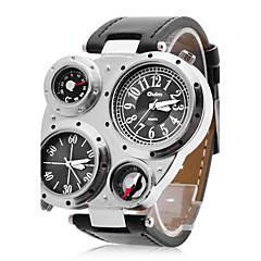 Oulm Heren Militair horloge Polshorloge Kwarts Japanse quartz Dubbele tijdzones PU Band Zwart