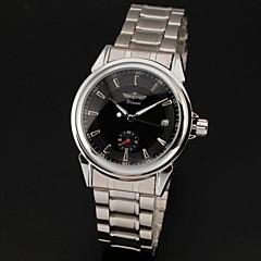 WINNER® Men's Automatic Self-Wind Auto Date Black Dial Silver Steel Band Analog Wrist Watch Cool Watch Unique Watch