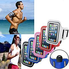 Недорогие Кейсы для iPhone 5-Кейс для Назначение универсальный iPhone 4/4S с окошком Нарукавная повязка С ремешком на руку Сплошной цвет Мягкий текстильный для