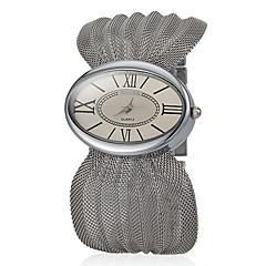 preiswerte Damenuhren-Frauen Big Mash Oval Dial Steel Band Quartz Analog-Armbanduhr (verschiedene Farben)