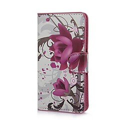 Elegant Purple Flower Pattern PU Leather Case with Stand and Card Slot for Sony Xperia M C1905