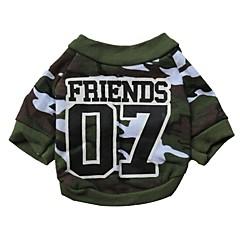 お買い得  猫の服-ネコ 犬 Tシャツ 犬用ウェア カモフラージュ グリーン コットン コスチューム ペット用