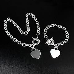 Dames Armbanden met ketting en sluiting Kettingen Basisontwerp Liefde Kostuum juwelen Klassiek Verzilverd Hartvorm Voor Bruiloft Feest