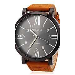 Χαμηλού Κόστους Προσφορές σε ρολόγια-JUBAOLI Ανδρικά Χαλαζίας Ρολόι Καρπού Καθημερινό Ρολόι Δέρμα Μπάντα Φυλαχτό Καφέ