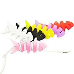 coloridos huesos de pescado cable de los auriculares de goma de silicona para enrollar el cable de dibujos animados lindo enrollador de cable