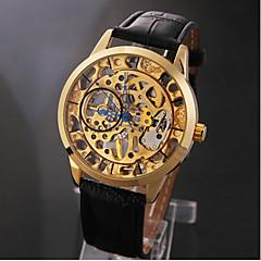 abordables Relojes Mecánicos-Esqueleto Negro Oro Manual banda de cuero elegante de los hombres reloj de pulsera mecánico
