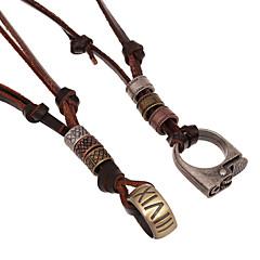 классический (кольцо и легче) коричневый кожаный кулон ожерелье (случайный цвет) (1 шт)