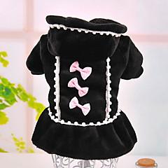 Σκύλος Φορέματα Ρούχα για σκύλους Πέρλα Φιόγκος Μαύρο Ροζ