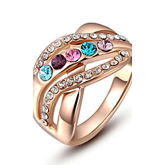 preiswerte Ringe-Damen Statement-Ring - Krystall, vergoldet, Diamantimitate Mehrfarbig 6 / 7 / 8 Rotgold Für Hochzeit / Party / Alltag / Kubikzirkonia