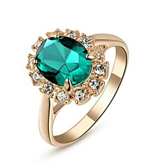 preiswerte Ringe-Damen Synthetischer Smaragd Statement-Ring - Krystall, vergoldet, Diamantimitate Klassisch 6 / 7 / 8 Rot / Grün / Blau Für Hochzeit / Party / Alltag / Kubikzirkonia / Zirkon